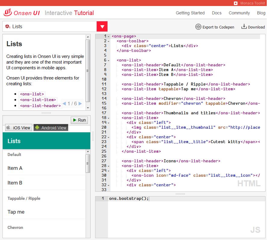 OnsenUI TutorialでCordovaプロジェクトをダウンロード