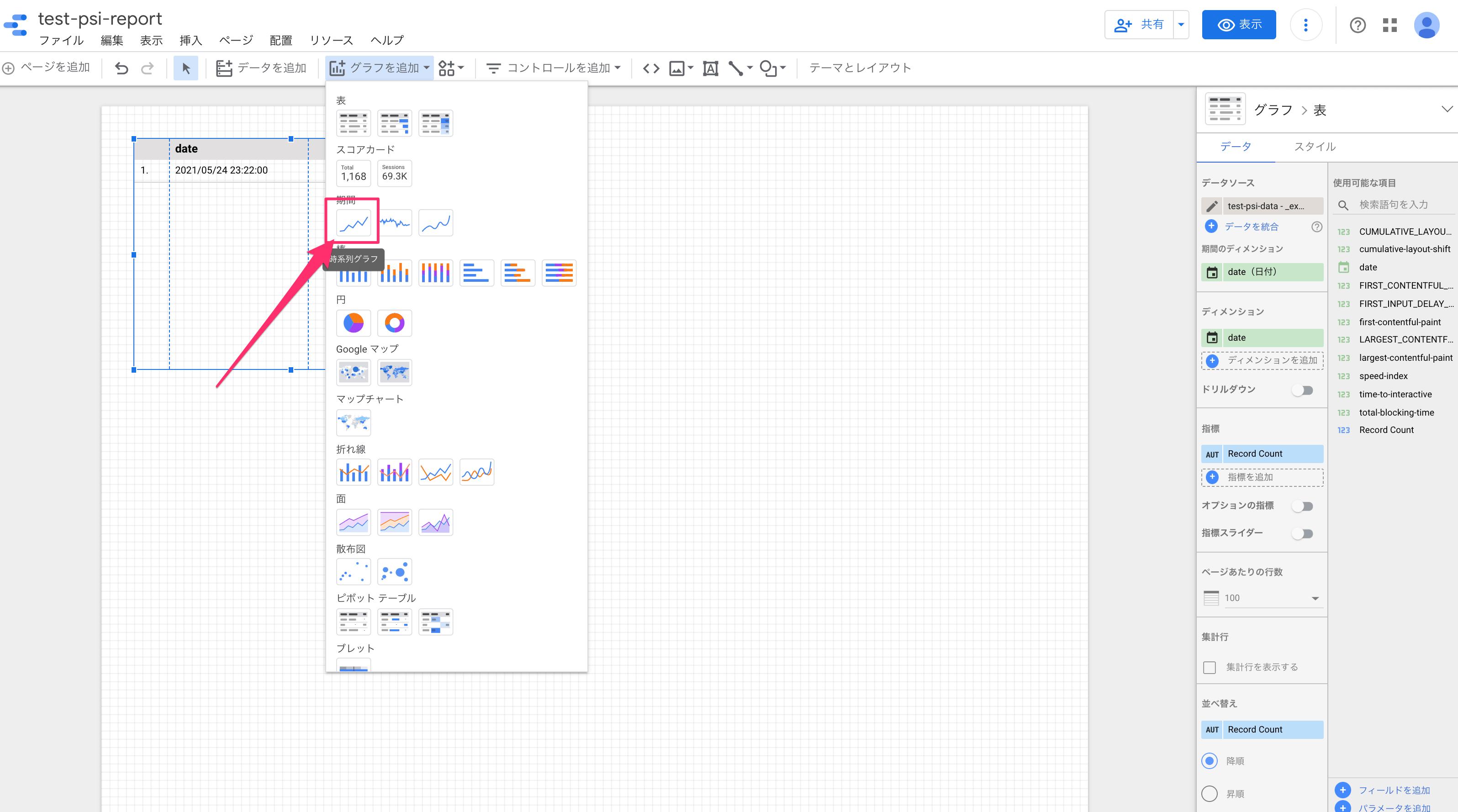 データポータルでグラフ選択